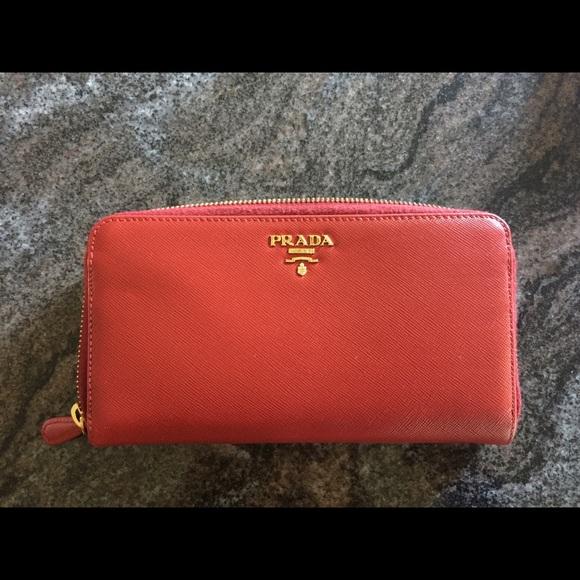 bb49d15ba80e Prada Bags | Red Saffiano Zip Around Continental Wallet | Poshmark